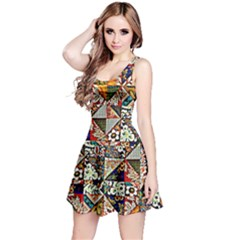 Patchwork Pattern Reversible Sleeveless Dress by bywhacky