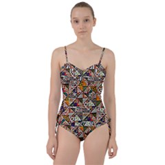Patchwork Pattern Sweetheart Tankini Set