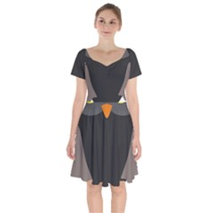 Sowa Owls Bird Wild Birds Pen Short Sleeve Bardot Dress by Sapixe