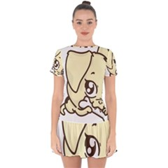 Doggy Dog Puppy Animal Pet Figure Drop Hem Mini Chiffon Dress by Sapixe