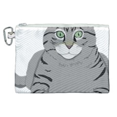 Cat Kitty Gray Tiger Tabby Pet Canvas Cosmetic Bag (xl) by Sapixe