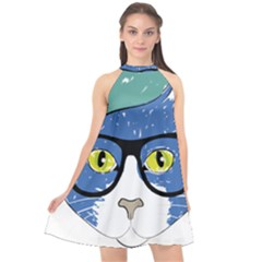 Drawing Cat Pet Feline Pencil Halter Neckline Chiffon Dress  by Sapixe