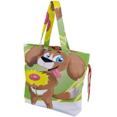 Dog Character Animal Flower Cute Drawstring Tote Bag by Sapixe