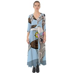 Cat Bird Cage Hunt Hunting Pet Button Up Boho Maxi Dress by Sapixe