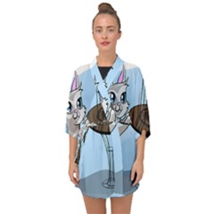Cat Bird Cage Hunt Hunting Pet Half Sleeve Chiffon Kimono by Sapixe