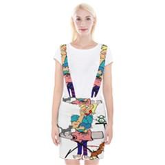 Housewife Multitasking Woman Braces Suspender Skirt by Sapixe