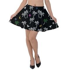 Tropical Pattern Velvet Skater Skirt by Valentinaart