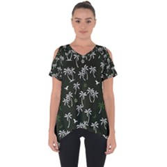 Tropical Pattern Cut Out Side Drop Tee