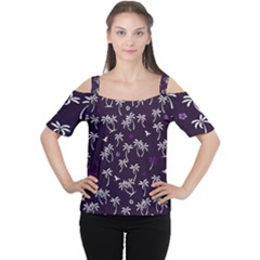 Tropical Pattern Cutout Shoulder Tee