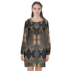 Beautiful Black And Gold Seamless Floral  Long Sleeve Chiffon Shift Dress  by flipstylezdes