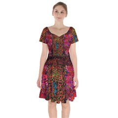Exotic Water Colors Vibrant  Short Sleeve Bardot Dress by flipstylezdes