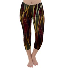 Snake In The Grass Red And Black Seamless Design Capri Winter Leggings  by flipstylezdes