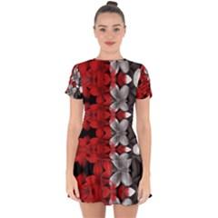Red And Black Florals  Drop Hem Mini Chiffon Dress by flipstylezdes