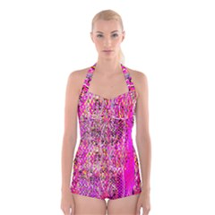 Hot Pink Mess Snakeskin Inspired  Boyleg Halter Swimsuit  by flipstylezdes