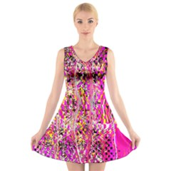 Hot Pink Mess Snakeskin Inspired  V Neck Sleeveless Dress by flipstylezdes