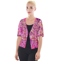 Hot Pink Mess Snakeskin Inspired  Cropped Button Cardigan by flipstylezdes