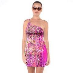 Hot Pink Mess Snakeskin Inspired  One Soulder Bodycon Dress by flipstylezdes