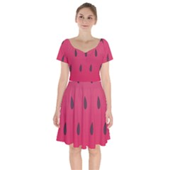 Watermelon Fruit Summer Red Fresh Short Sleeve Bardot Dress