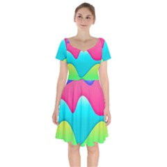Lines Curves Colors Geometric Lines Short Sleeve Bardot Dress