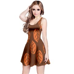 Pattern Leaf Plant Decoration Reversible Sleeveless Dress