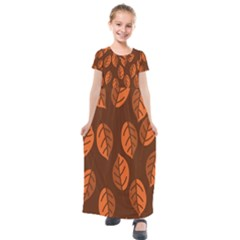 Pattern Leaf Plant Decoration Kids  Short Sleeve Maxi Dress by Nexatart