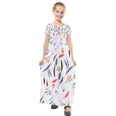 Watercolor Tablecloth Fabric Design Kids  Short Sleeve Maxi Dress by Nexatart