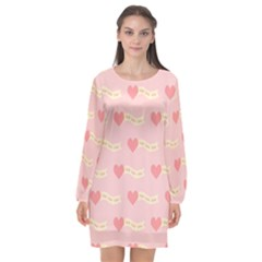 Heart Love Pattern Long Sleeve Chiffon Shift Dress  by Nexatart