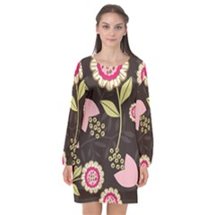 Flowers Wallpaper Floral Decoration Long Sleeve Chiffon Shift Dress  by Nexatart