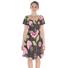 Flowers Wallpaper Floral Decoration Short Sleeve Bardot Dress