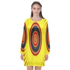 Art Decoration Wallpaper Bright Long Sleeve Chiffon Shift Dress  by Nexatart