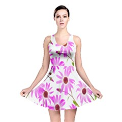 Pink Purple Daisies Design Flowers Reversible Skater Dress