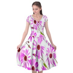 Pink Purple Daisies Design Flowers Cap Sleeve Wrap Front Dress by Nexatart