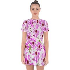 Pink Purple Daisies Design Flowers Drop Hem Mini Chiffon Dress