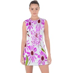 Pink Purple Daisies Design Flowers Lace Up Front Bodycon Dress