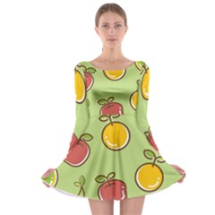 Seamless Pattern Healthy Fruit Long Sleeve Skater Dress by Nexatart