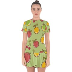Seamless Pattern Healthy Fruit Drop Hem Mini Chiffon Dress