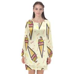 Pattern Sweet Seamless Background Long Sleeve Chiffon Shift Dress  by Nexatart