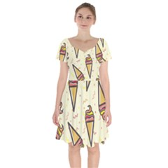 Pattern Sweet Seamless Background Short Sleeve Bardot Dress by Nexatart