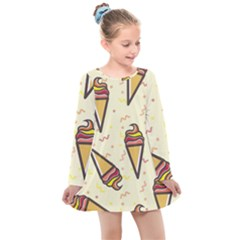 Pattern Sweet Seamless Background Kids  Long Sleeve Dress by Nexatart