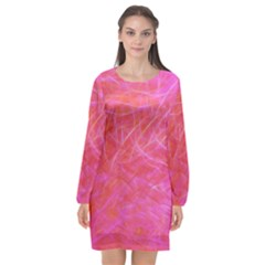 Pink Background Abstract Texture Long Sleeve Chiffon Shift Dress