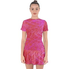 Pink Background Abstract Texture Drop Hem Mini Chiffon Dress by Nexatart