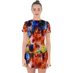 Ornament Color Vivid Pattern Art Drop Hem Mini Chiffon Dress