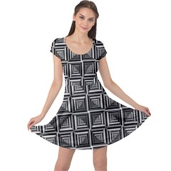Pattern Op Art Black White Grey Cap Sleeve Dress