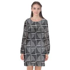 Pattern Op Art Black White Grey Long Sleeve Chiffon Shift Dress  by Nexatart