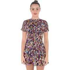 Pattern Abstract Decoration Art Drop Hem Mini Chiffon Dress