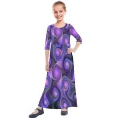 Abstract Pattern Fractal Wallpaper Kids  Quarter Sleeve Maxi Dress by Nexatart