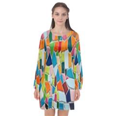 Mosaic Tiles Pattern Texture Long Sleeve Chiffon Shift Dress  by Nexatart