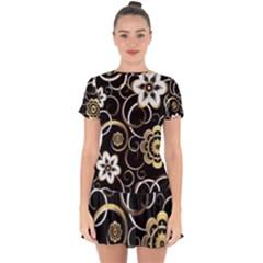 Beautiful Gold And White Flowers On Black Drop Hem Mini Chiffon Dress by flipstylezdes