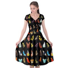 Butterfly Cap Sleeve Wrap Front Dress by ArtworkByPatrick1