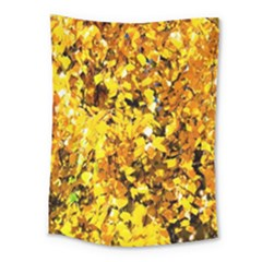 Birch Tree Yellow Leaves Medium Tapestry by FunnyCow